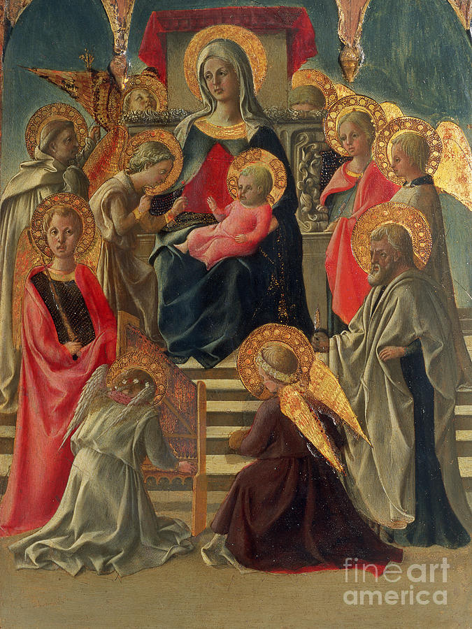 Madonna And Child Enthroned With Angels And Saints Painting