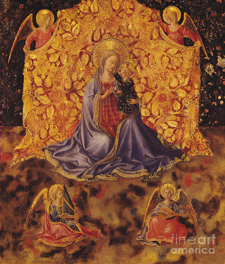 Fra Angelico Painting - Madonna Of Humility With Christ Child And Angels by Fra Angelico