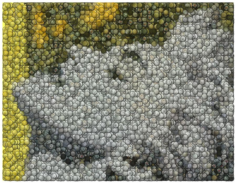Music Digital Art - Madonna True Blue Material Girl Coins Mosaic by Paul Van Scott