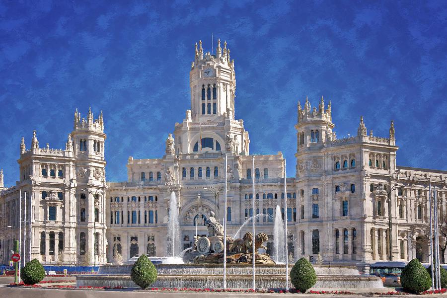 Ancient Photograph - Madrid City Hall by Joan Carroll