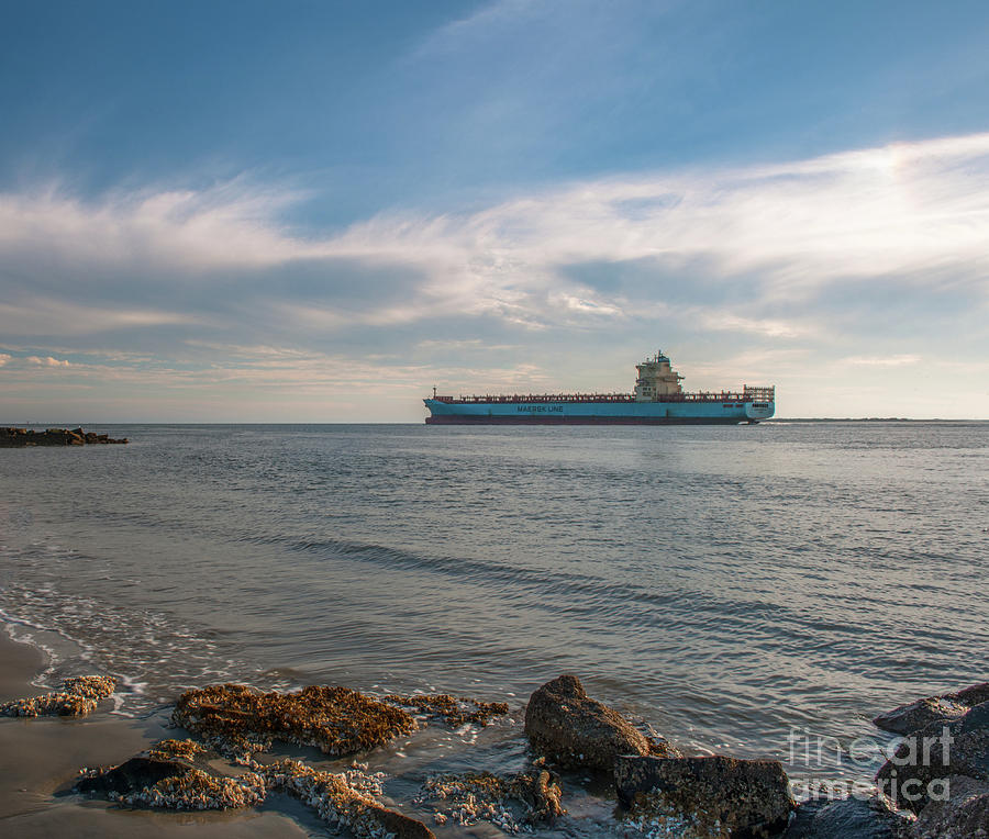 Freighter Steaming Out Of Charleston Sc Harbor Photograph