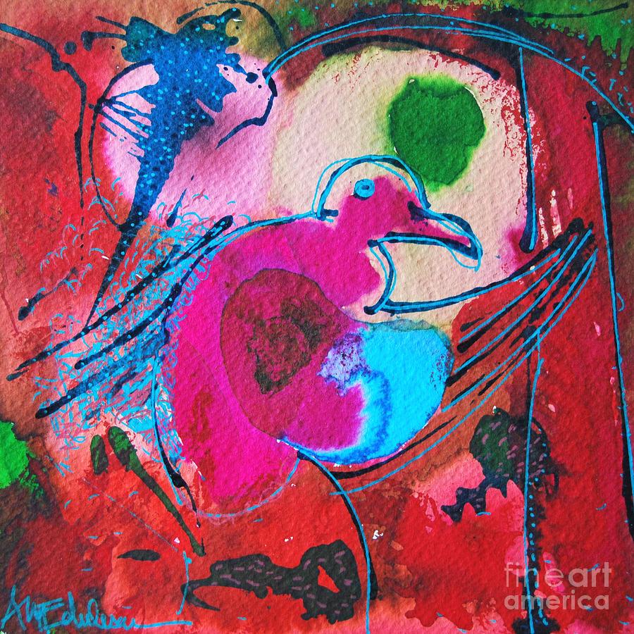 Bird Painting - Magenta Marching Bird by Ana Maria Edulescu