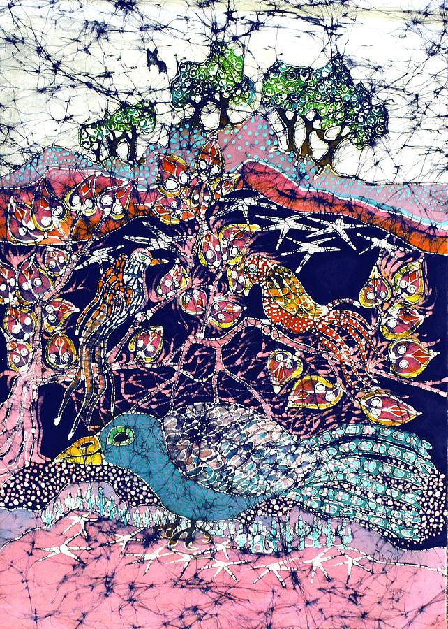 Batik Tapestry - Textile - Magical Birds by Carol  Law Conklin