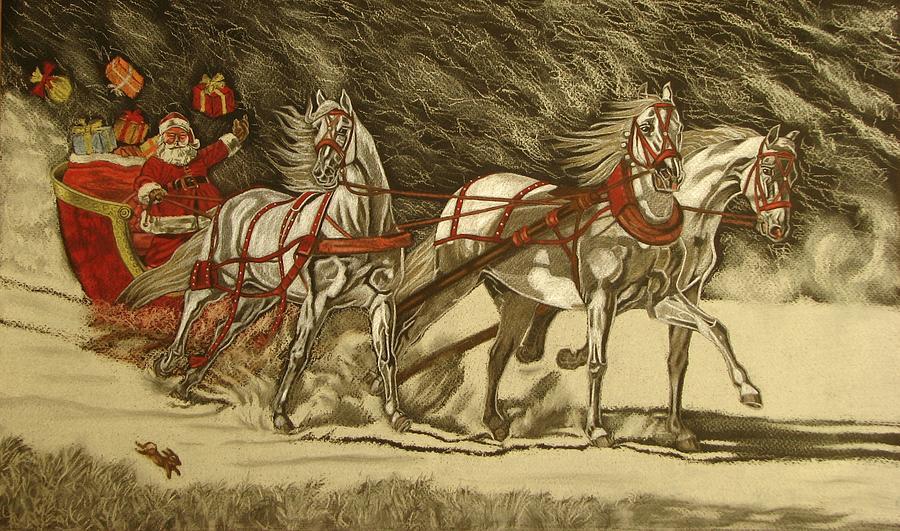 Horse Drawing - Magical Christmas by Melita Safran
