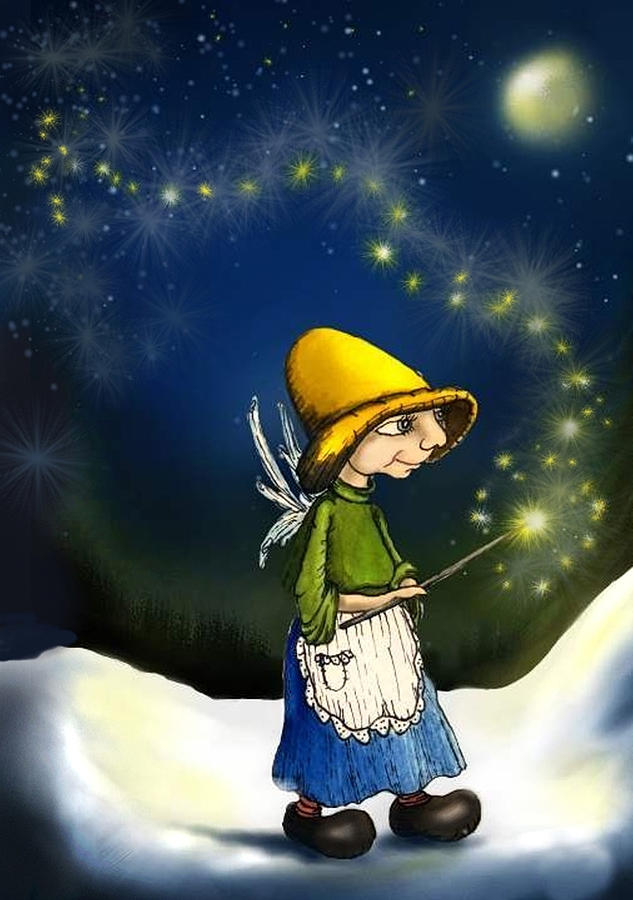 Fairy With Magic Wand Drawing - Magical Hope by Hank Nunes