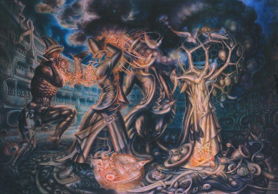 Metaphysik Painting - Magicians Competition by De Es Schwertberger