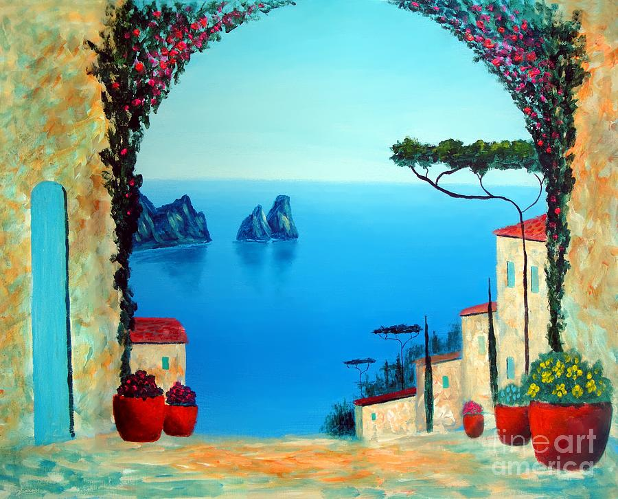 Italy Mediterranean Art Painting - Magnificent Capri by Larry Cirigliano
