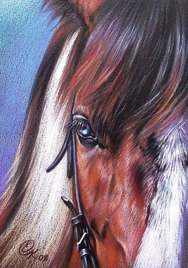Horse Animal Portrait Drawing Art Drawing - Magnificent Paint by Elena Kolotusha