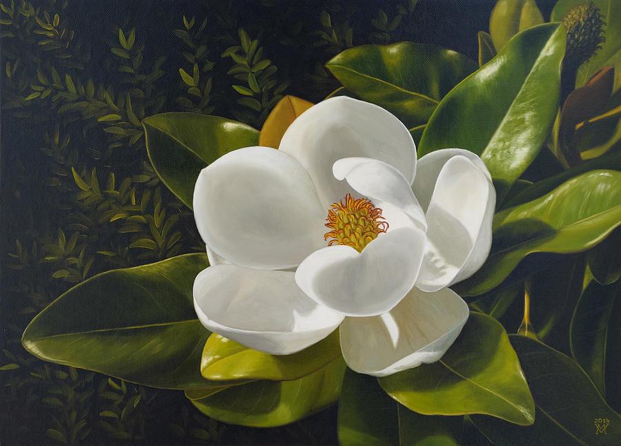 Magnolia Painting by Miljan Vasiljevic