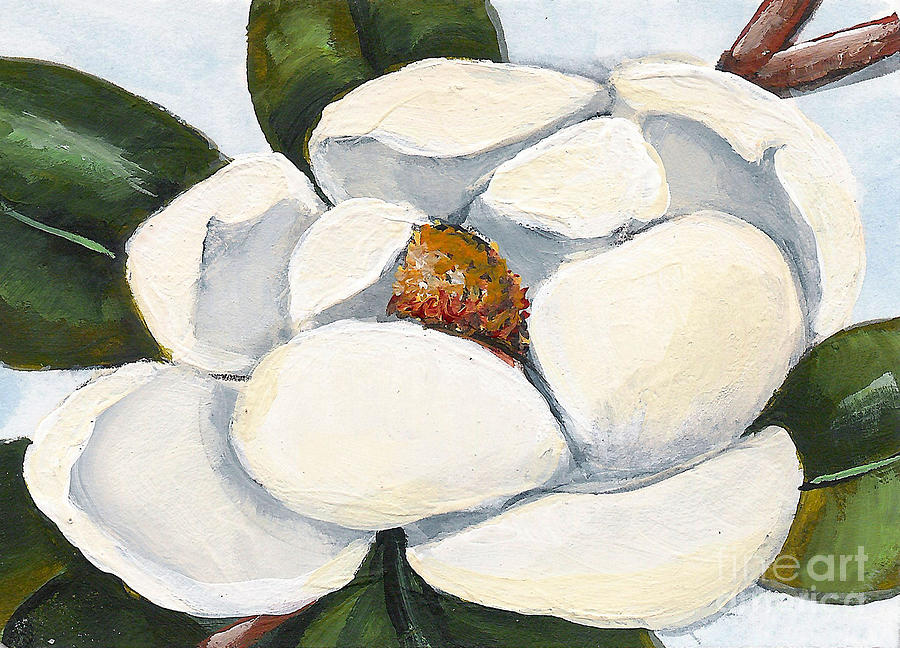 Floral Painting - Magnolia On Blue by Elaine Hodges