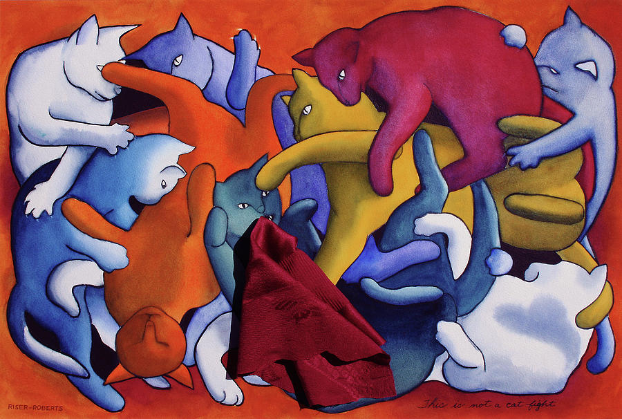 Funny Cat Art Painting - Magrittes Cats--this Is Not A Cat Fight by Eve Riser Roberts