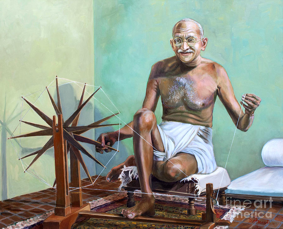Gandhi Painting - Mahatma Gandhi Spinning by Dominique Amendola