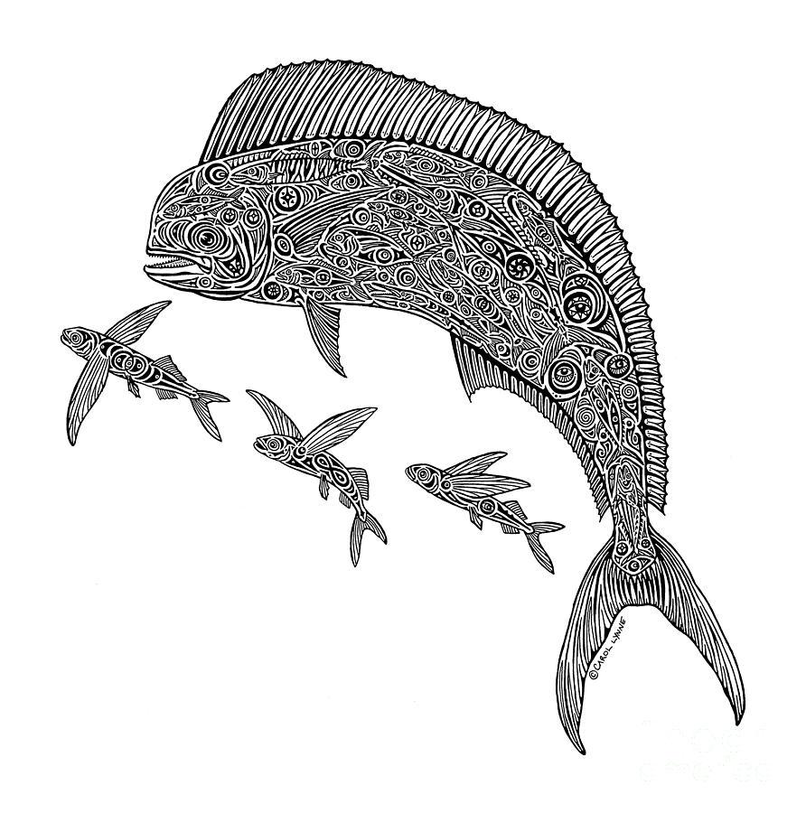 Dolphin Fish Drawing - Mahi With Flying Fish by Carol Lynne
