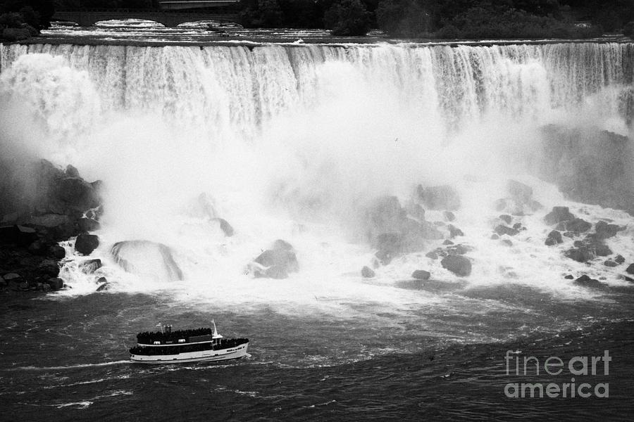Niagara Falls Photograph - Maid Of The Mist Boat Below The American And Bridal Veil Falls Niagara Falls Ontario Canada by Joe Fox