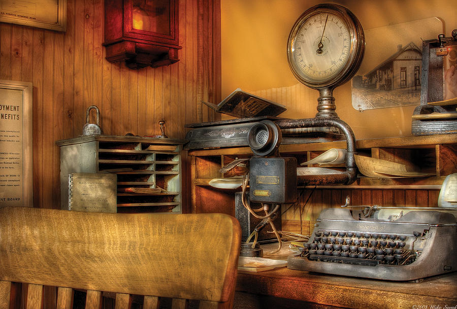 Savad Photograph - Mailman - In The Office by Mike Savad
