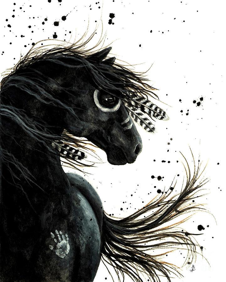 Black Horse Painting - Majestic Friesian by AmyLyn Bihrle