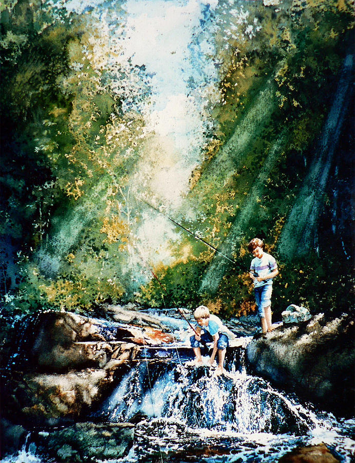 Boys Fishing Creek Print Painting - Making Memories by Hanne Lore Koehler