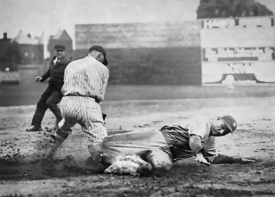 Baseball Photograph - Making The Play C. 1920 by Daniel Hagerman