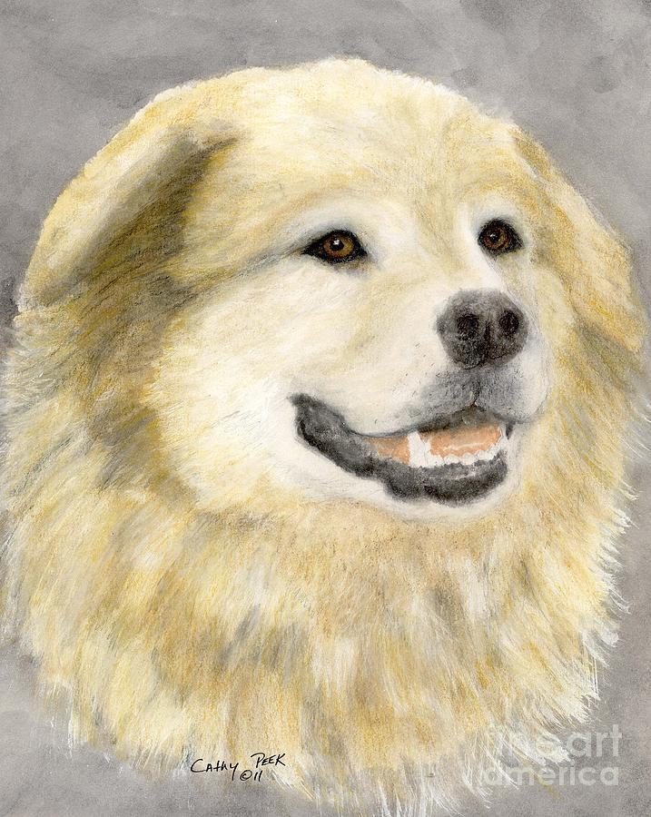 Malamute St Bernard Mix Dog Portrait Painting by Cathy Peek