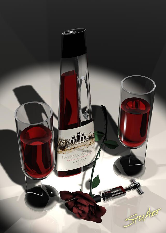Malbec Wine - Romance Expectations Digital Art by Stuart Stone