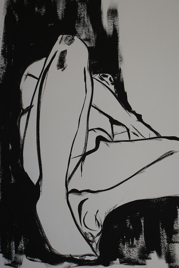 Male Drawing - Male Model by Joanne Claxton