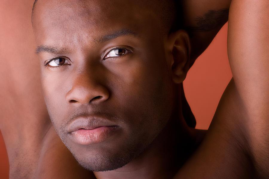 Black Men Photograph - Male Model Portrait In Color by Val Black Russian Tourchin