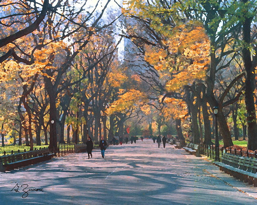 Mall Central Park New York City Painting