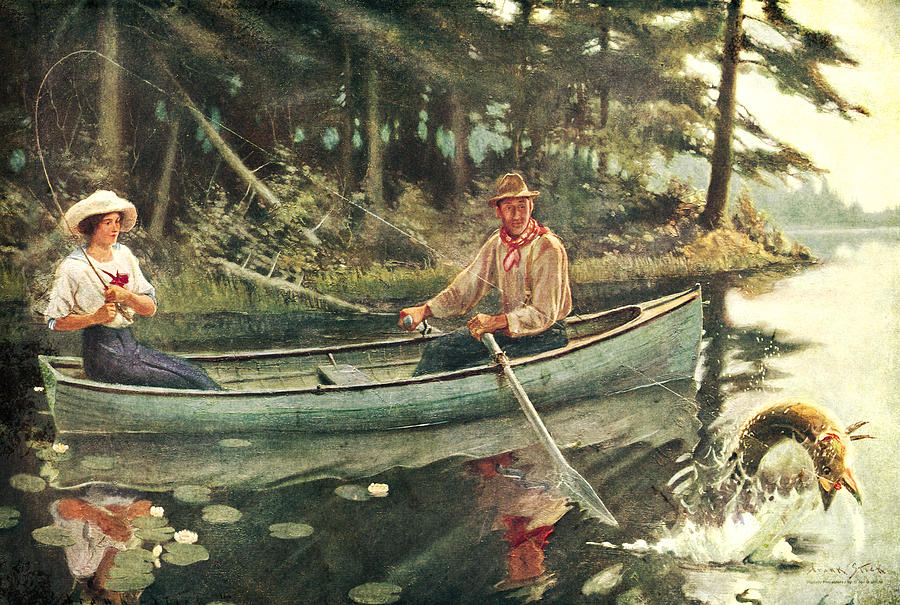 Man And Woman Fishing Painting by JQ Licensing