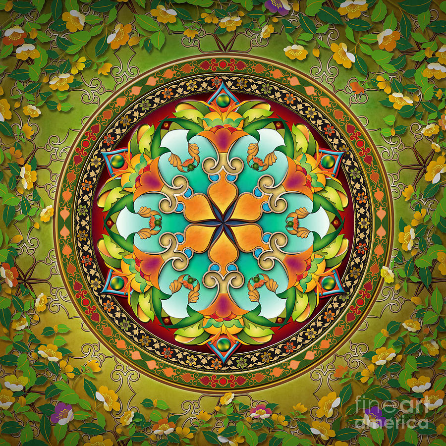 Mandala Digital Art - Mandala Evergreen by Bedros Awak