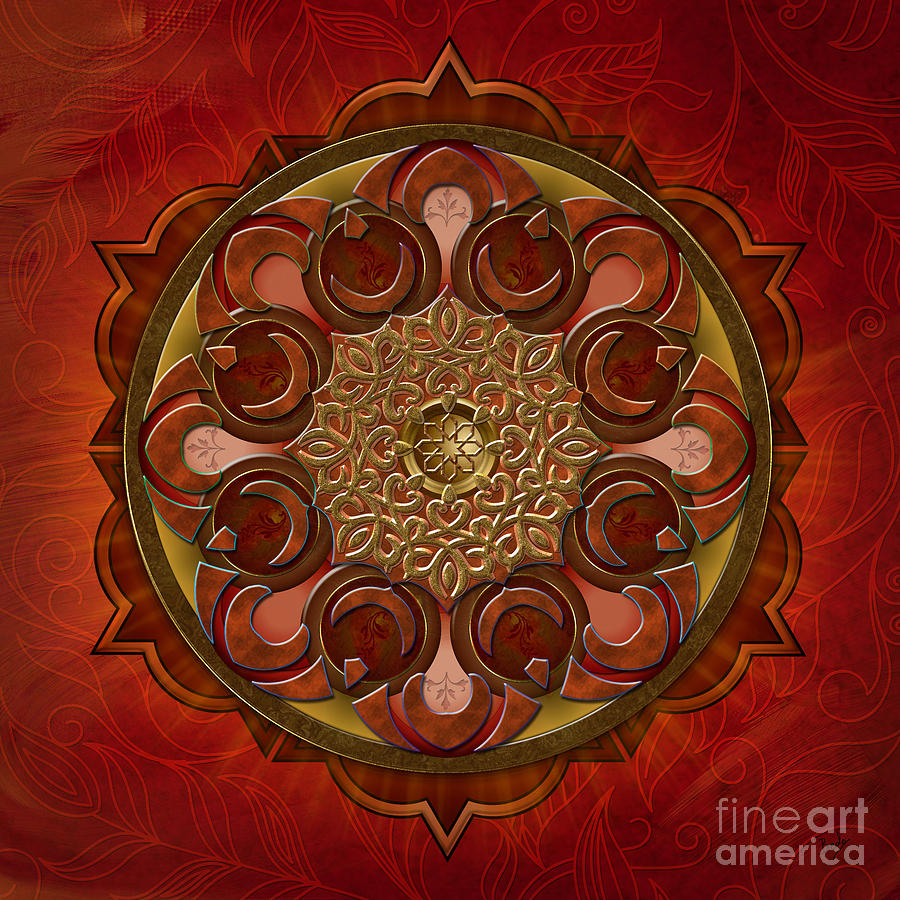 Mandala Digital Art - Mandala Flames by Bedros Awak