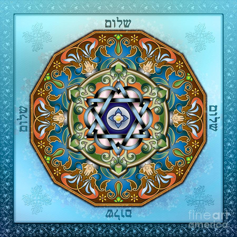 Mandala Digital Art - Mandala Shalom by Bedros Awak