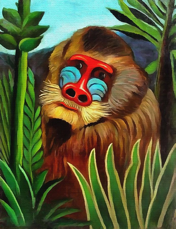 Mandrill In The Jungle Painting