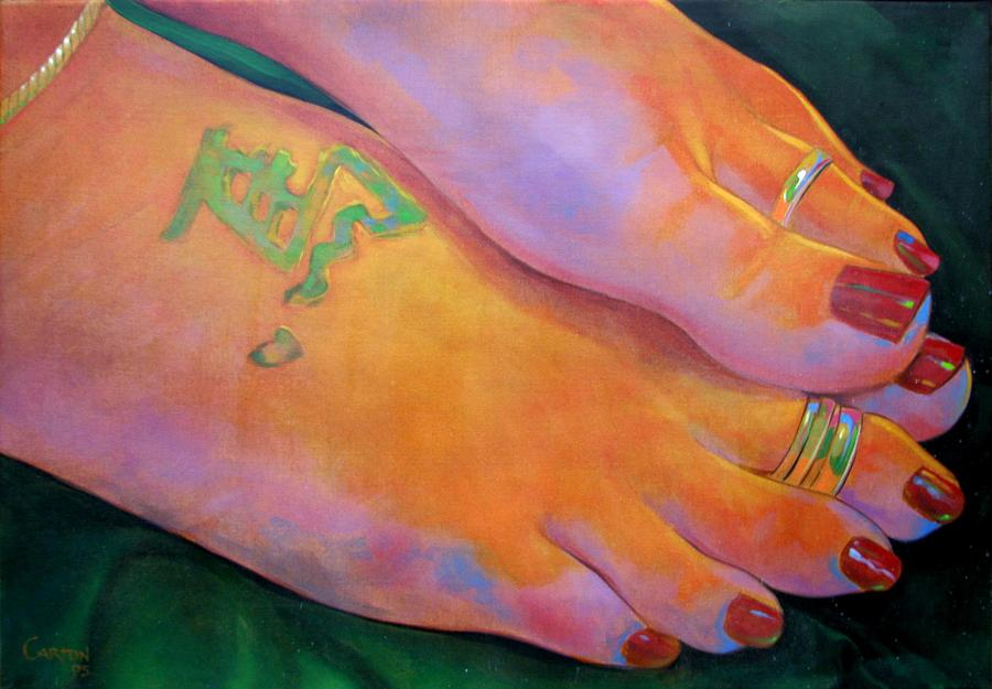 Toes Painting - Mandy Toes Orange by Jerrold Carton