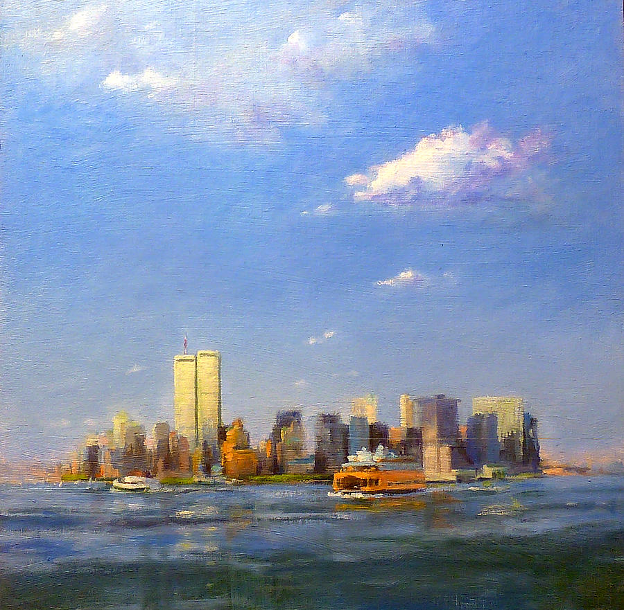 Twin Towers Painting - Manhattan And Twin Towers From New York Harbor by Peter Salwen