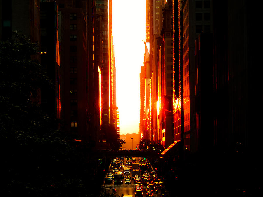 Manhattanhenge Sunset Overlooking Times Square - Nyc Photograph
