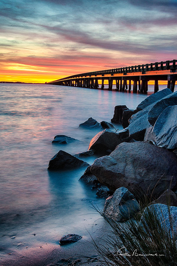 Manns Harbor Bridge Sunset 1127 Photograph