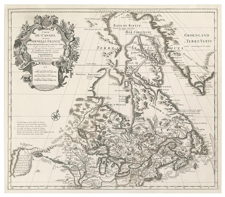 Map Of Canada Or New France Drawing