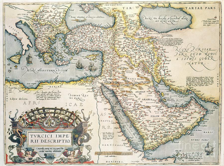 Map Drawing - Map Of The Middle East From The Sixteenth Century by Abraham Ortelius