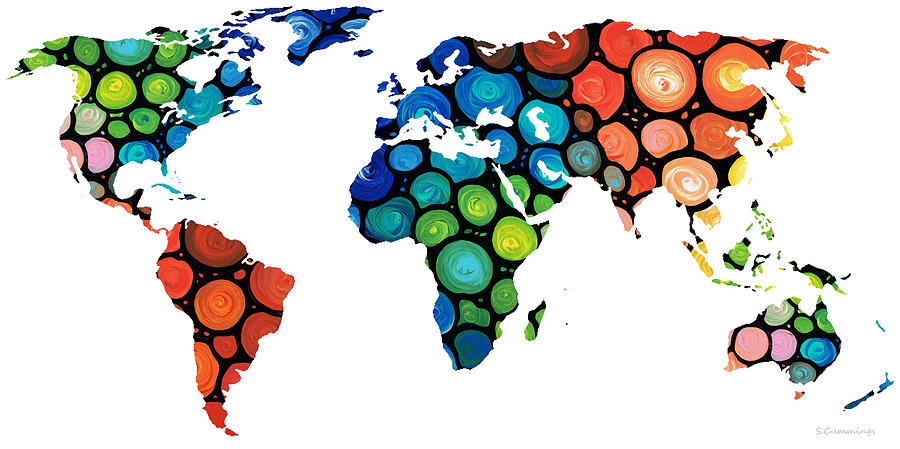 Map Painting - Map Of The World 1 -colorful Abstract Art by Sharon Cummings