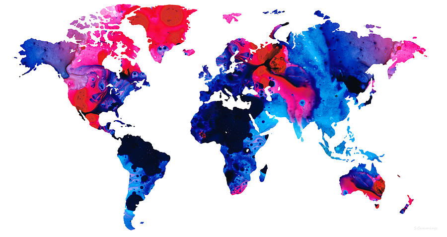Map Of The World 9 colorful Abstract Art Painting by Sharon Cummings
