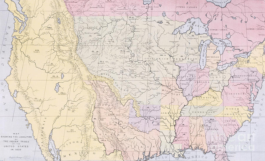 Map Painting - Map Showing The Localities Of The Indian Tribes Of The Us In 1833 by Thomas L McKenney and James Hall