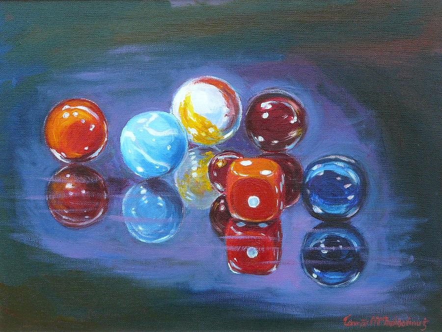 Still Life Painting - Marbels by Tomas OMaoldomhnaigh