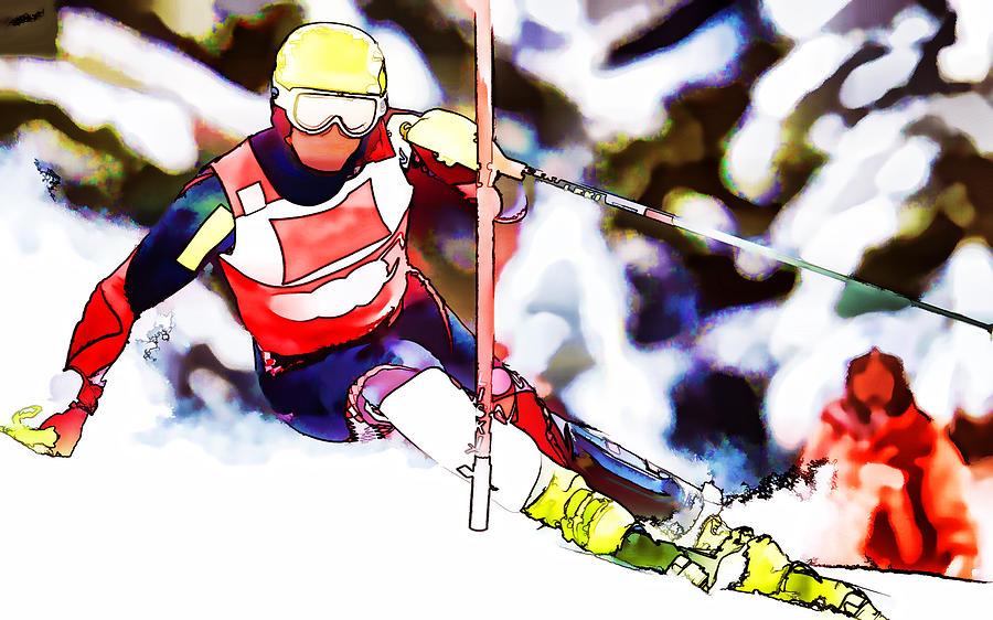 Marcel Hirscher Skiing Painting - Marcel Hirscher Skiing by Lanjee Chee