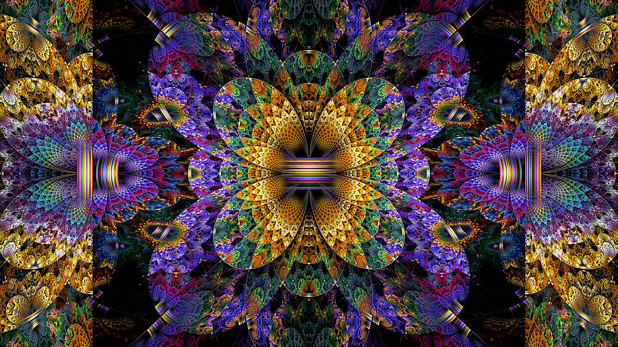 Abstract Digital Art - Mardi Gras Split Crop by Peggi Wolfe