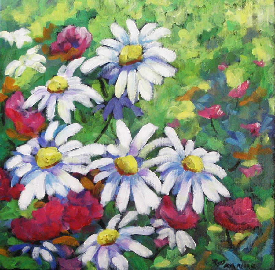 Fleurs Painting - Marguerites 001 by Richard T Pranke