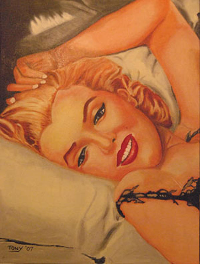 Portrait Female Marilyn Monroe Iconography Painting - Marilyn Number One by Tony Hitch
