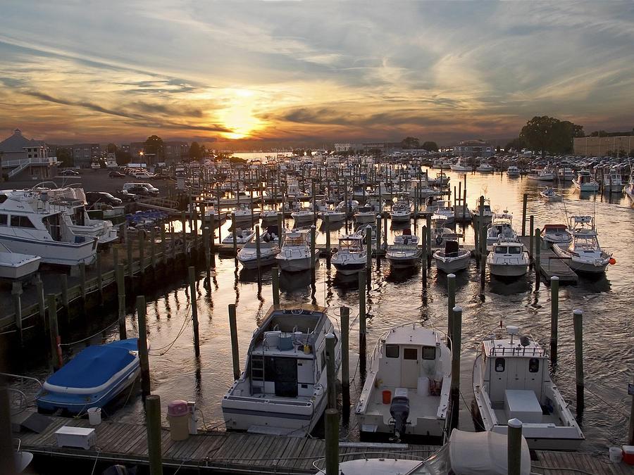 Boats Photograph - Marina Sunset by Andrew Kazmierski