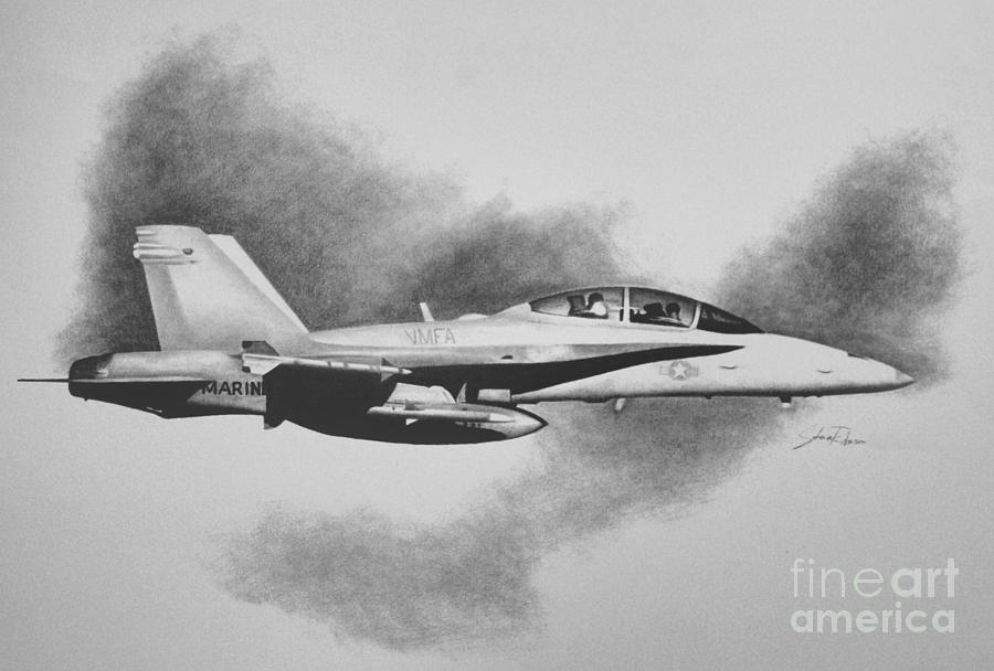 F/a-18 Drawing - Marine Hornet by Stephen Roberson