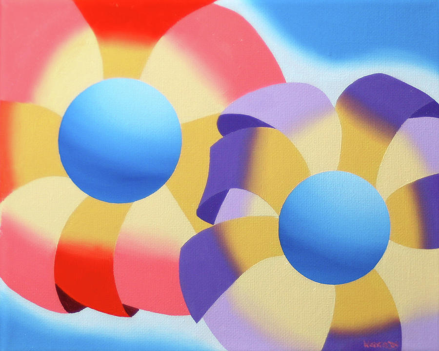 Abstract Painting - Mark Webster - Abstract Futurist Flowers Oil Painting by Mark Webster