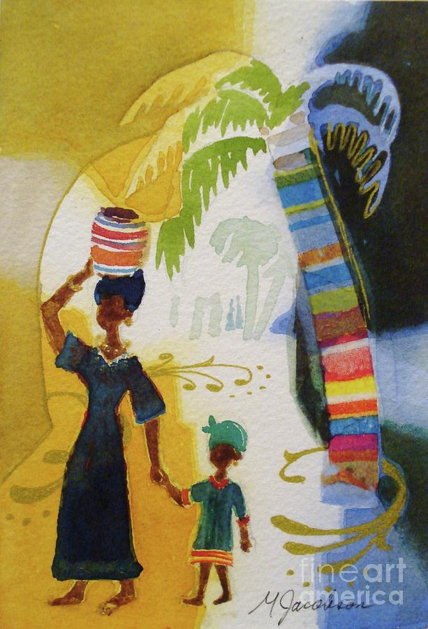 Africa Painting - Market Day by Marilyn Jacobson